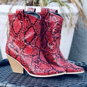 Red Snake Skin Cowboy Western Boho Country Boots